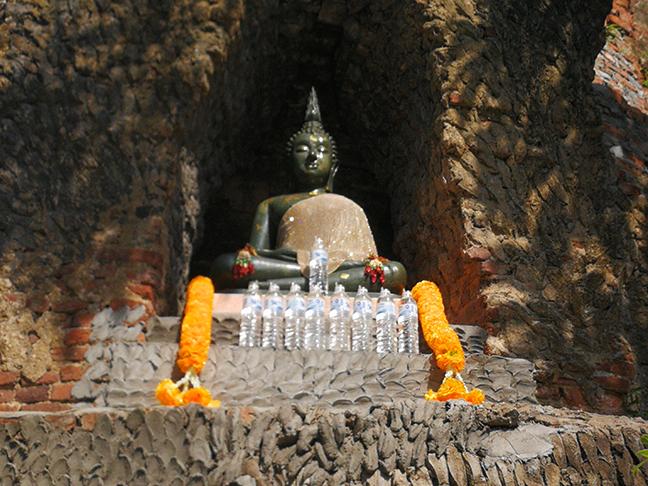 Bottigliette d'acqua di plastica come offerte per il Buddha